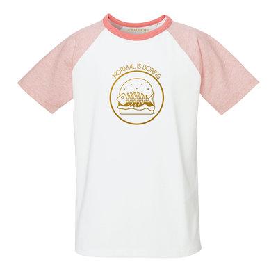 Girls pink Burger tee gold